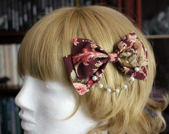 Burgundy Floral Bow Hair Clip with Pearl Chain