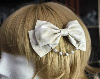 Pale Green Swirls Bow Hair Clip with Pearl Chain