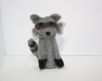 miniature raccoon needle felted sculpture