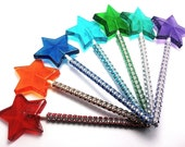 10  STAR WAND LOLLIPOPS with Bling Sticks - Bridal Shower Favors, Cinderella Party