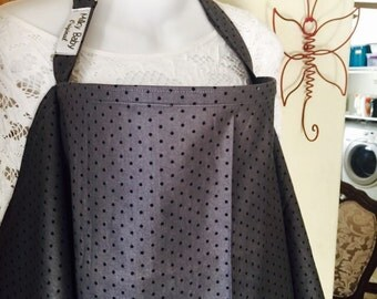 Breastfeeding nursing cover up apron like  hooter hider new print elegant gray dots