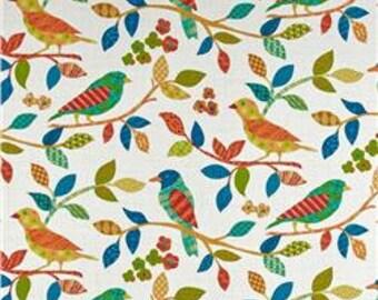 Two  20 x 20  Custom Designer Decorative Pillow Covers -  Birds on Vine Blue Red Orange Green