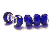 New Color! Quantity. 5 Royal Blue, 925, Glass, Crystal Cut, European Style Bracelet Beads - Euro Spacer Bead, Big Hole Beads