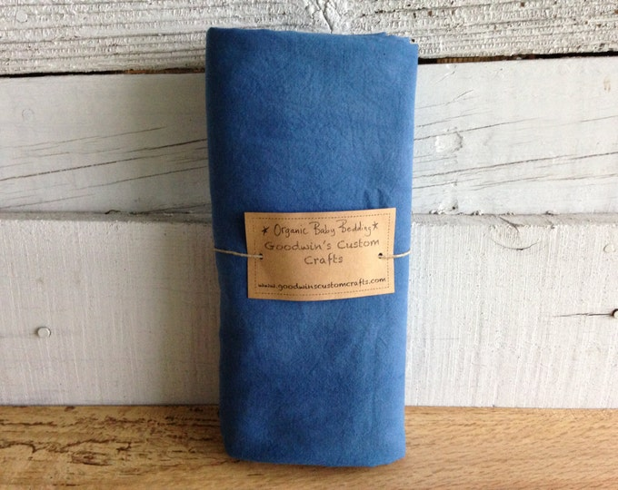 Organic Baby Bedding, Crib Sheet, Changing Pad Cover - Hand Dyed Indigo Blue