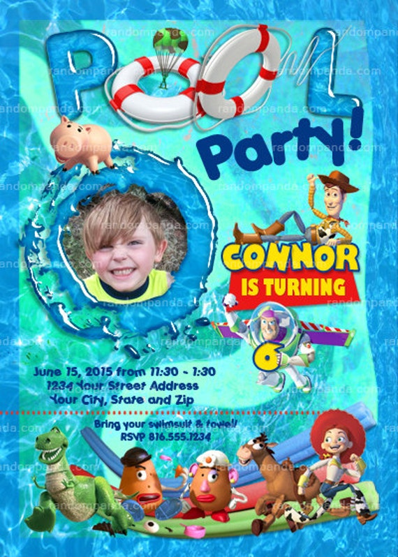 on sale personalize toy story pool party invitation, buzz, Party invitations