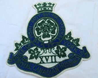 Vintage Hussars jacket Crest / Canada 17th XVII Duke of York's Royal Canadian Hussars jacket emblem / Military crest
