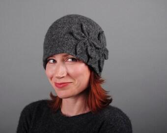 Double Flower Cloche - Dark Grey - Felted Merino Wool Winter Hat with Flower Appliqué