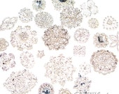 30pcs DIY Brooch Bouquet Supplies Mixed Pack, Wedding Broach Bouquet Brooches with Clear Stones and Pearls