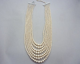 Necklace Vintage Graduated Glass Pearl Necklace Multiple Strand Necklace