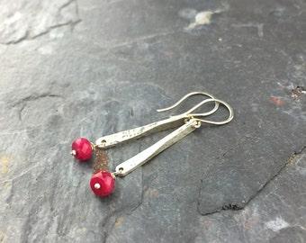 Sterling Silver Ruby - Earrings - Silver - Bar - Drop - Jewelry - Pam Hurst - Sterling - July Birthstone - Red - Gemstone
