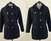 Vintage Navy Blue and Red Jonathan Logan Wool Belted Peacoat or Jacket