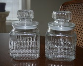 Vintage Anchor Hocking Set of Two Medium Glass Jar Canister Clear Color