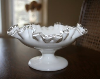 Vintage Fenton White Milk Glass Double Crimped Silver Crested Candy Dish Pedestal Bowl