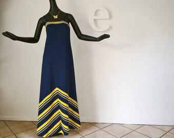MOD Vintage 70s Maxi Dress Chevron Stripe Navy Blue White & Yellow Nautical Hippie Boho Dress or University of Michigan Party! Medium Large