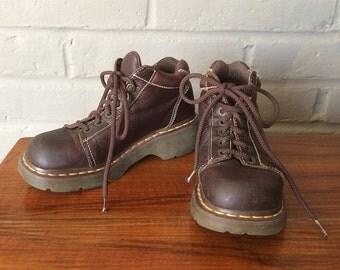Dr. Martens Shoe Boots Bump Toe Lug Sole Dark Brown Leather Doc Martens Martins 90s Grunge Hiking Combat Boots Women's Size European 39 US 8