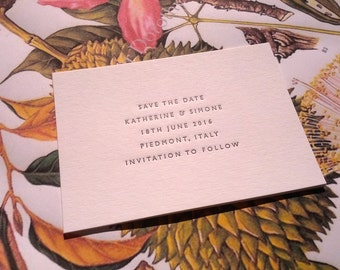 A7 Save the Date Cards / Letterpress printed - 5 lines of text