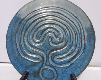 Ceramic Trivet, Ceramic Hot Pad, Copper Blue Trivet, Labyrinth Home Decor, Labyrinth Trivet, Ceramic Labyrinth Trivet, Copper Blue Hot Pad