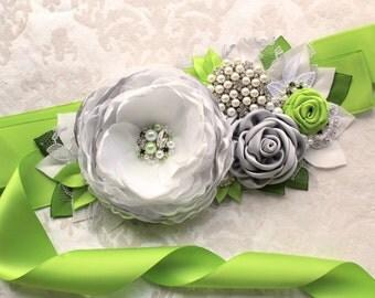 Off-White Gray Green Sash/ Wedding Ribbon Bridal Sash/ Handmade Accessory