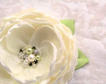 Ivory Green Hair Flower/ Brooch/ Handmade Wedding Accessory