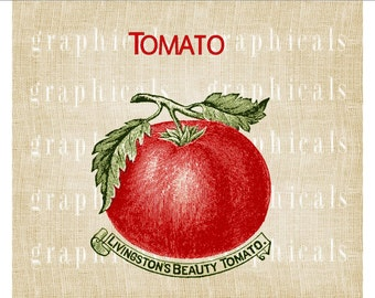 Red tomato vegetable packet instant digital download image for iron on fabric transfer burlap decoupage pillow tote paper Item No F22C