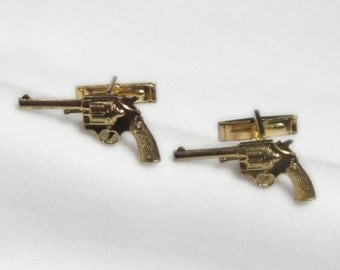 Gun Cuff Links - Gold Plated - New Old Stock - Vintage