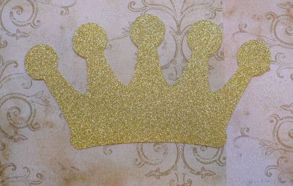 1 Gold Glitter Crown Shape Die Cut Made from Cardstock Princess Birthday Party for DIY Table ...