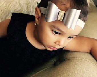 Baby Girl Double satin bow Headband - rhinestone,Toddler ,newborn  baby elastic headband.