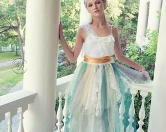 Junior Bridesmaids Green and Gold Boho Dress