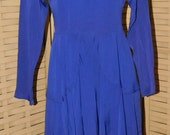 Vintage 1940-1950s Royal Blue Dress, Synthetic, Nylon? Rayon? Blend? Good Used Size S/M,