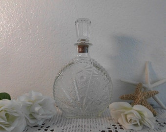Vintage Floral Glass Decanter Ornate Beautiful Flower Liquor Bottle Mid Century Hollywood Regency Shabby Chic Cottage Home Decor Decoration