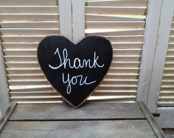 Rustic Black and White Thank You Wedding Sign, Wooden Black Wedding Sign Props, Thank You Heart