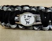 CUSTOM Paracord Bracelet - Handwriting Bracelet - Custom Handwriting Jewelry - Actual Handwriting - Father's Day - Memorial Bracelet