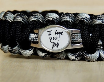 CUSTOM Paracord Bracelet, Men's Bracelet, Custom Handwriting Jewelry, Actual Handwriting, Fathers Day, Paracord Bracelets, Memorial Bracelet