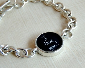 Personalized Handwriting Bracelet, Memorial Signature Jewelry, Actual Handwriting, Custom Signature Bracelet, Personalized Handwriting Gift