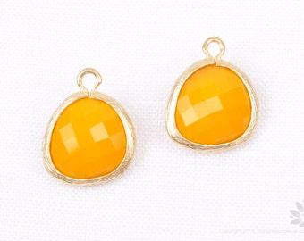 F102-MG-TG// Matt 14K Gold Plated Framed Tangerine Pendant, 2Pc