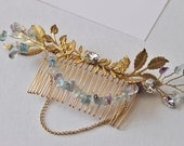 Bohemian Gold Tone Brass leaf  and gemstone branch hair comb