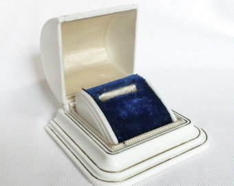 White Art Deco Ring Box Celluloid Plastic jewelry Blue Velvet Wedding Display Vintage