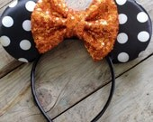 Black and White Minnie Headband and Orange Sparkle Bow Baby's First Halloween Photography Prop Baby Girl Halloween Headband Sequin Bows