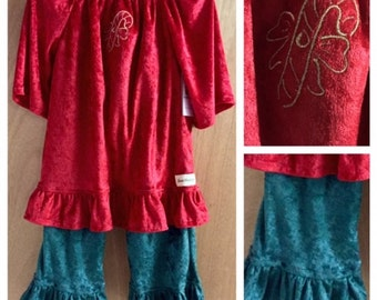 Christmas Peasant Top and Ruffle Pants, girls size 5