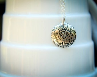 Embossed Cabbage Rose Disc Necklace in Sterling Silver
