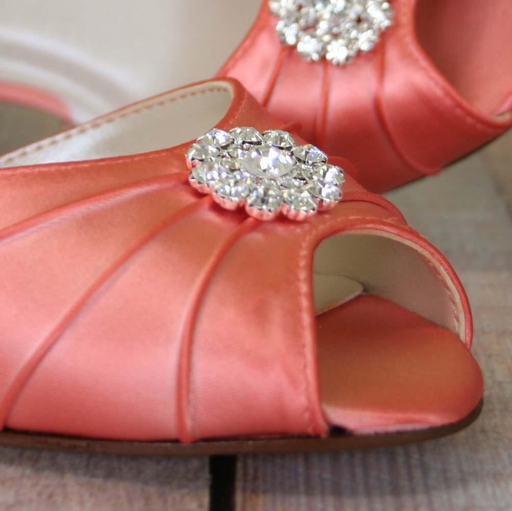 Orange Coral Wedding Shoes / Bling Bridal Shoes / Crystal