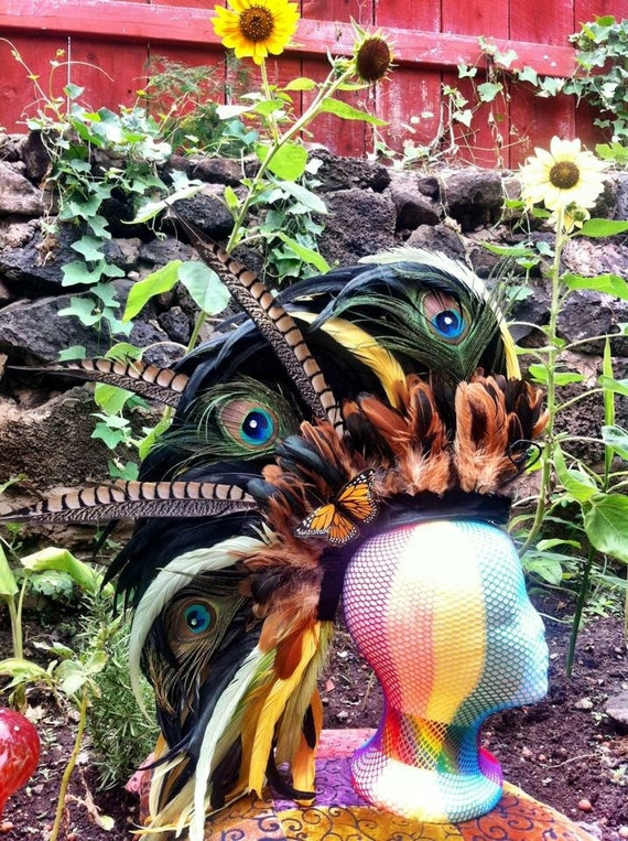 "Customizable Feather Mohawk / Headdress - ""The Secret Garden"""
