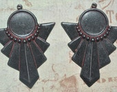 SALE TWO PAIRS  of Art Deco Earring Components with Bezel,One Pair, Brass, Wicked Sassy Patina