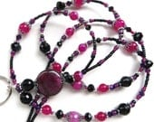 BLACK FUSION- Beaded ID Lanyard- Agate Pendant, Dragon Veins, Brazil Ruby, Rose Jade & Striped Agate Gemstones, Crystals (Magnetic Clasp)