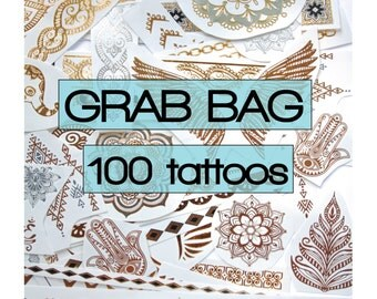 100 pieces of gold and silver metallic temporary tattoos, with black highlights: bachelorette, flash, party favors, favours, festival, beach