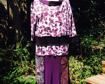 Upcycled Cotton Dress, Boho Patchwork,Lg to XL, Recycled Clothes, Black, Burgundy, Plum, #D120