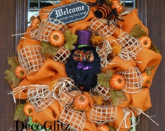 Orange Burlap FAll or Halloween Wreath with OWL and PUMPKINS
