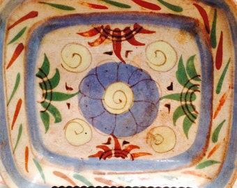 Mexican Dish Decorative Only Pottery Bowl Glazed Terra Cotta