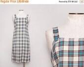 SALE 1980s Plaid Jumper / Vintage 80s School Uniform Dress / Size Large