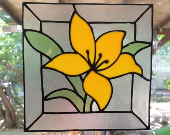 Yellow flower - Stained glass window cling - Suncatcher - Window Mirror Tile decoration - handmade decal - home decoration -